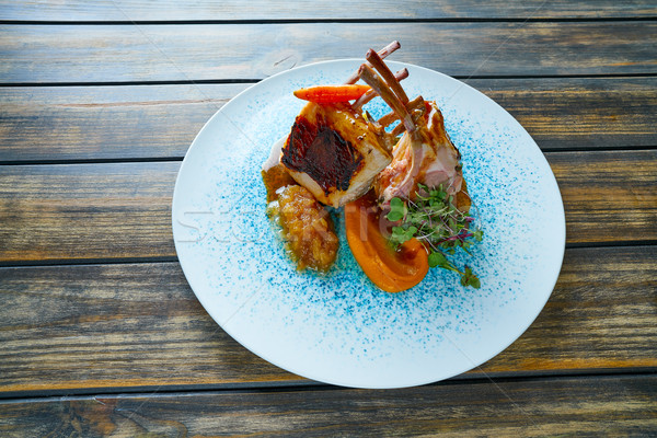 Lamb ribs with sweet potato parmentier recipe Stock photo © lunamarina