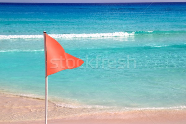 опасный красный флаг пляж морем сигнала Сток-фото © lunamarina