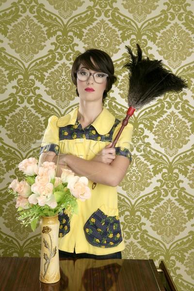 Ménagère nerd rétro femme maison Photo stock © lunamarina