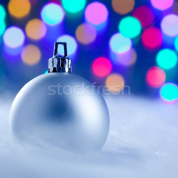 Weihnachten Silber Spielerei verschwommen Lichter farbenreich Stock foto © lunamarina