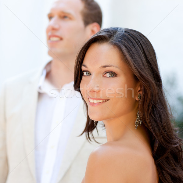 Happy beautiful woman portrait with man Stock photo © lunamarina