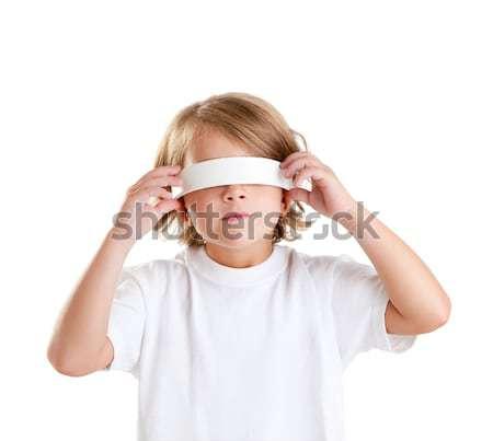 Bekötött szemű gyerekek szőke gyerek portré izolált Stock fotó © lunamarina
