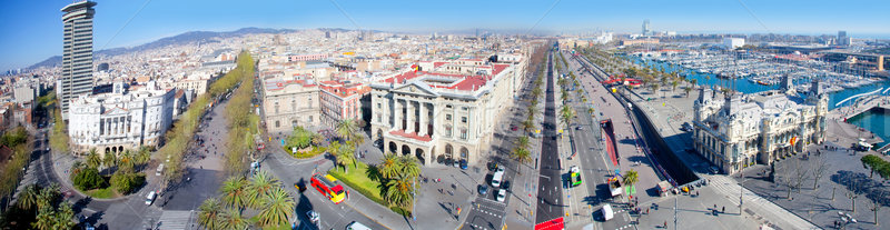 Aerial panoramic Barcelona view Port Passeig Colon Stock photo © lunamarina