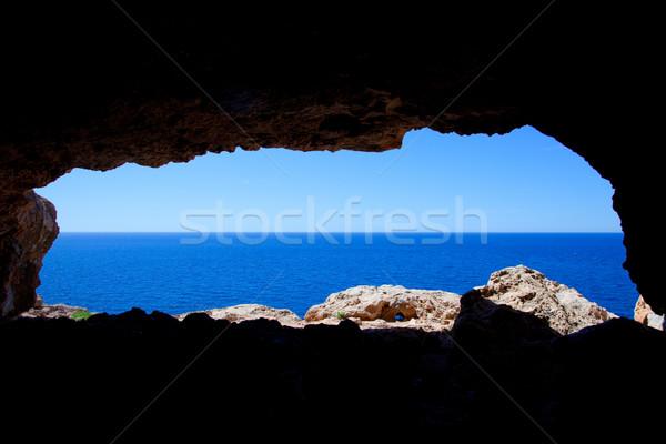 Cave hole in Barbaria Formentera with blue sea view Stock photo © lunamarina