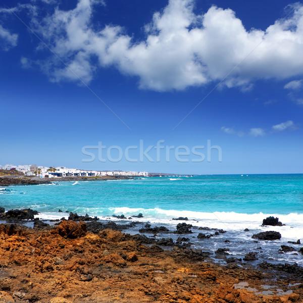 Vulkanisch strand hemel water natuur Stockfoto © lunamarina
