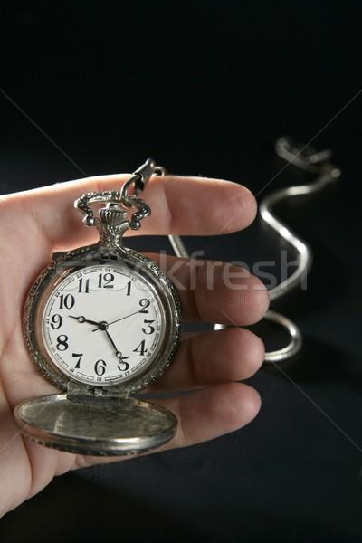 Vieux argent montre de poche horloge main humaine antique Photo stock © lunamarina