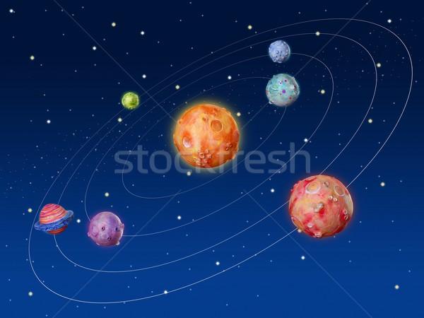 Przestrzeni planet fantasy wykonany ręcznie wszechświata kolorowy Zdjęcia stock © lunamarina