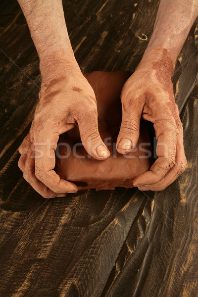 artist man hands working red clay for handcraft Stock photo © lunamarina
