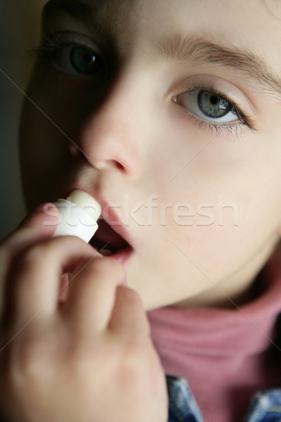 toddler girl and coconut oil lipstick portrait Stock photo © lunamarina