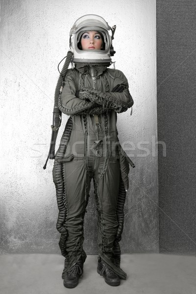 astronaut fashion stand woman space suit helmet Stock photo © lunamarina