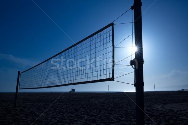 beach voley net in Santa Monica at sunset California Stock photo © lunamarina