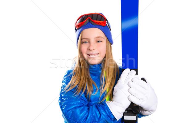 Nino nina esquí nieve gafas de protección invierno Foto stock © lunamarina