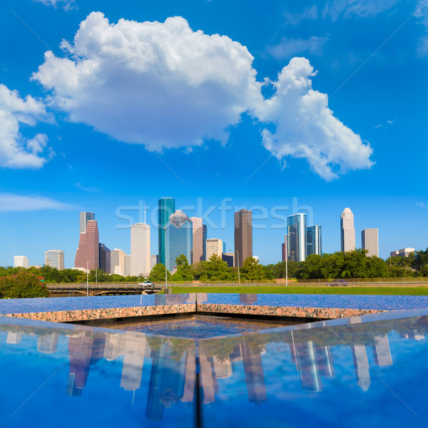 Houston skyline reflectie Texas USA hemel Stockfoto © lunamarina