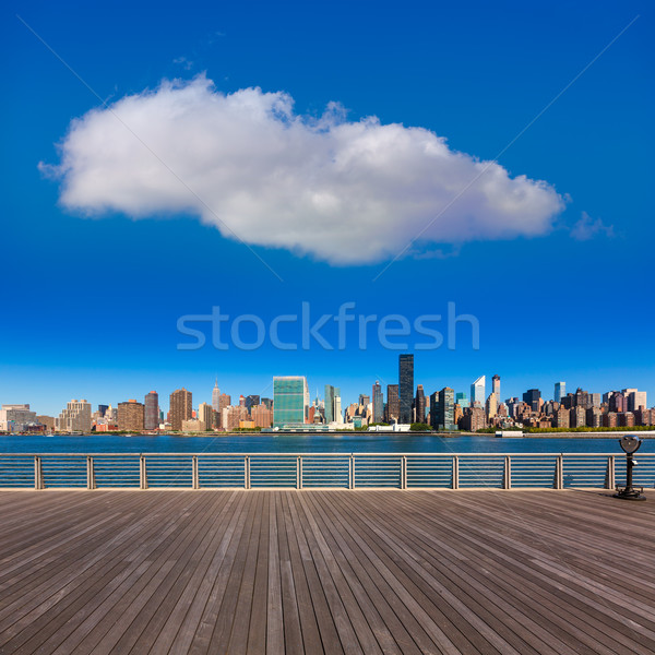 Manhattan New York sunny skyline East River NYC Stock photo © lunamarina