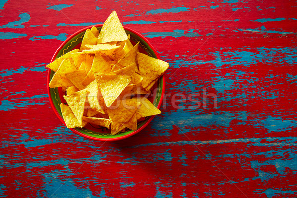 Nachos mexikói étel tortilla piros grunge otthon Stock fotó © lunamarina