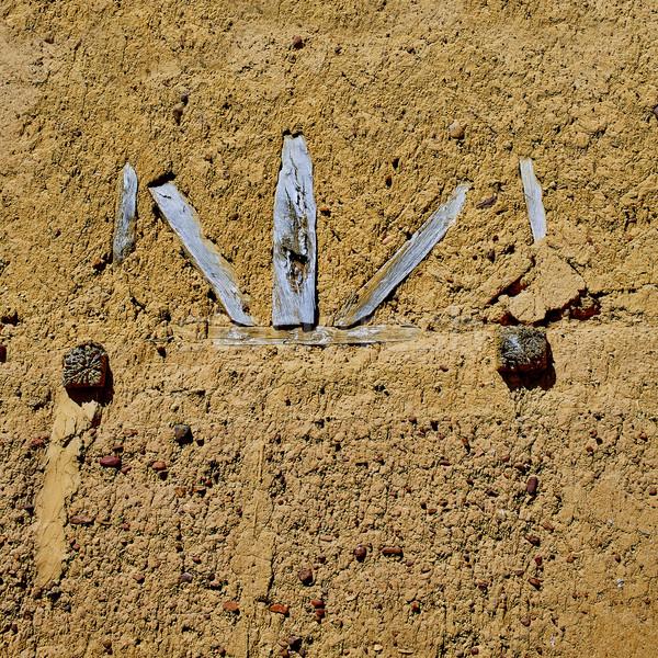 Way of saint James adobe mud walls at Palencia Stock photo © lunamarina
