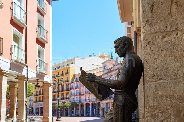 Szobor újság olvasó Spanyolország tér épület Stock fotó © lunamarina