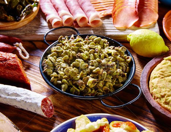 Tapas habas con morcilla lima beans Spain Stock photo © lunamarina