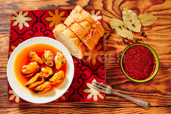 Tapas mejillones escabeche pickled mussels Stock photo © lunamarina