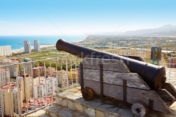Cullera Cannon in the Castle top with aerial skyline  Stock photo © lunamarina