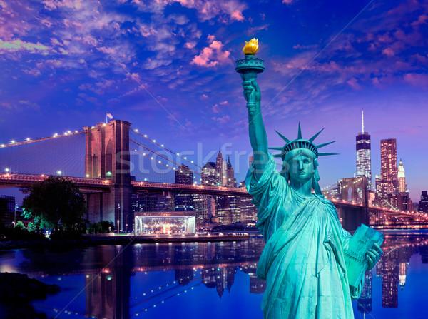 свободы статуя моста Нью-Йорк американский Сток-фото © lunamarina