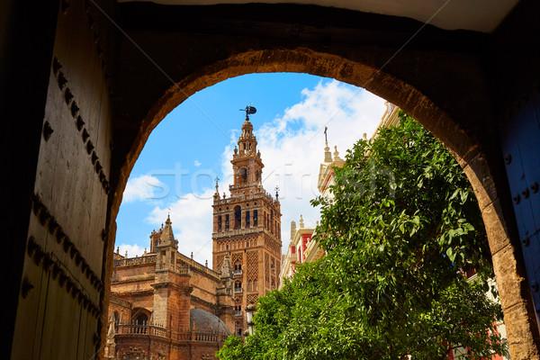 Seville cathedral Giralda tower Andalusia Spain Stock photo © lunamarina
