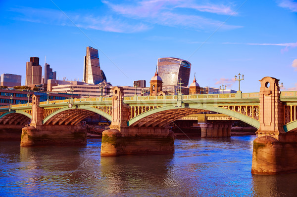 London Southwark bridge in Thames river Stock photo © lunamarina