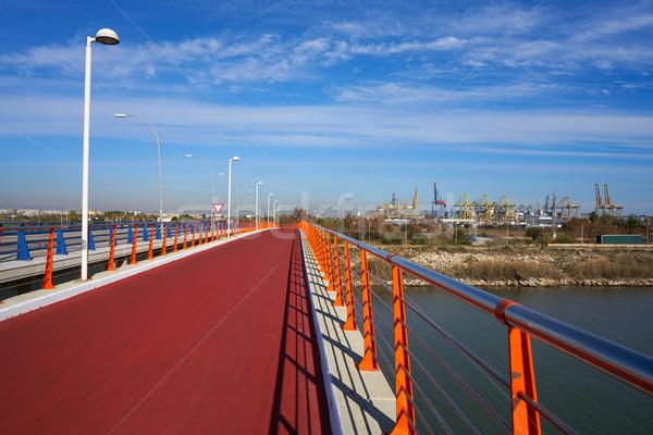 バレンシア ポート 表示 橋 赤 ストックフォト © lunamarina