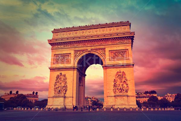 Arc de Triomphe Parijs boog triomf zonsondergang Frankrijk Stockfoto © lunamarina