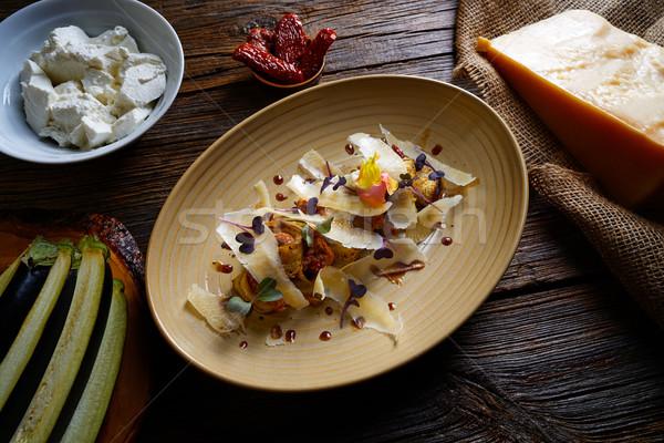 Aubergine and cheese recipe italian food Stock photo © lunamarina