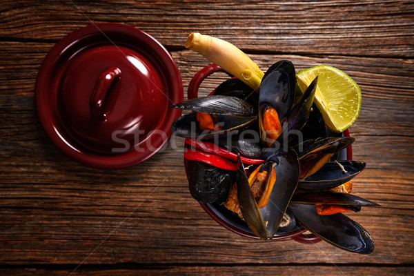 steamed mussels tapas from spain with chili Stock photo © lunamarina