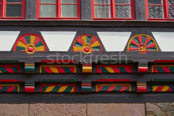 Stolberg carved wood facades in Harz Germany Stock photo © lunamarina