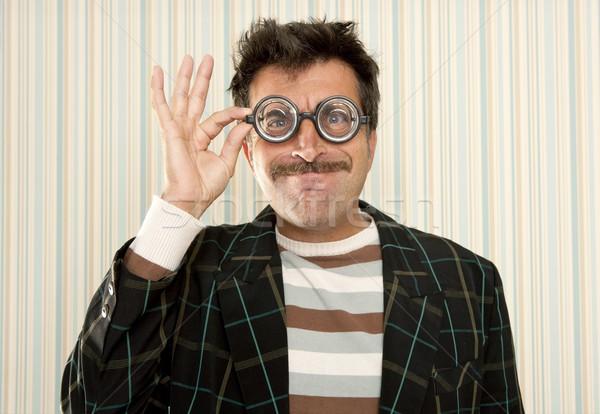 Stréber hülye őrült szemüveg férfi vicces Stock fotó © lunamarina
