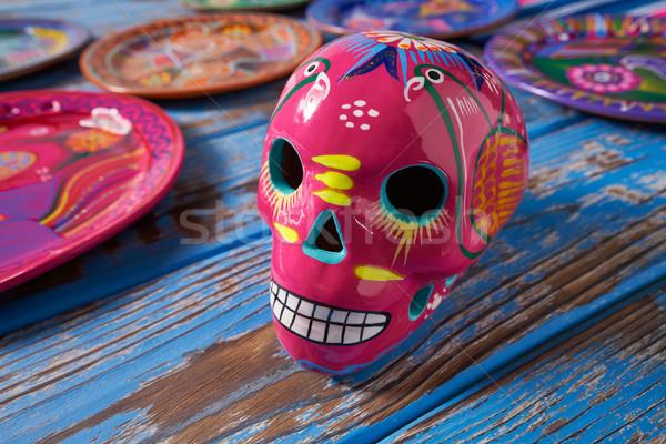 Mexican rosa cranio artigianato Messico faccia Foto d'archivio © lunamarina