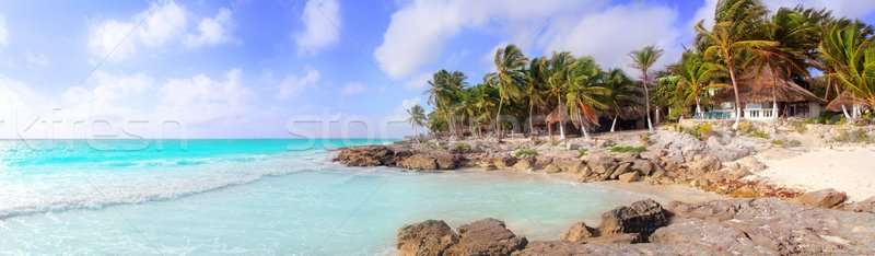 Caribbean Tulum Mexico tropical panoramic beach Stock photo © lunamarina