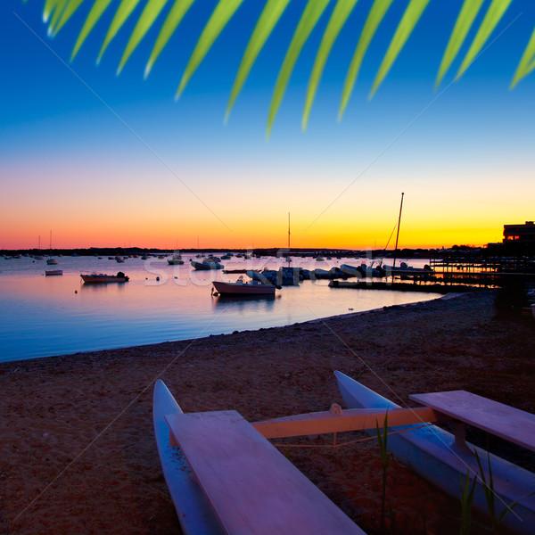 Stock photo: Formentera sunset in se estany des peix