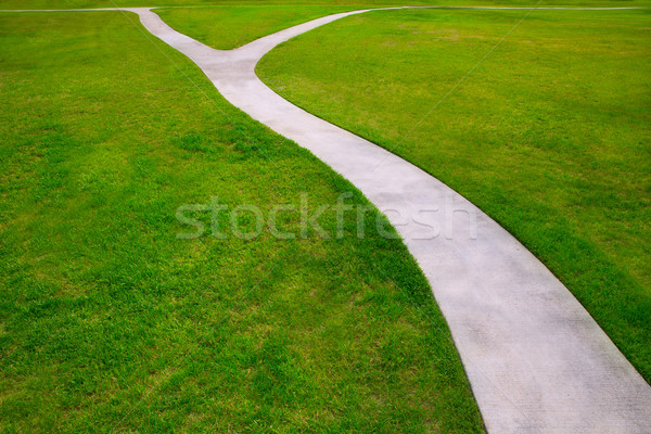 Garden lawn grass with a two option ways detour Stock photo © lunamarina