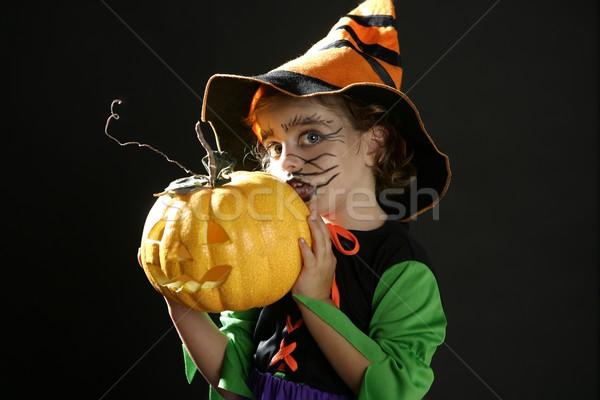 Kleinkind Mädchen Halloween Kostüm schönen Hexe Stock foto © lunamarina