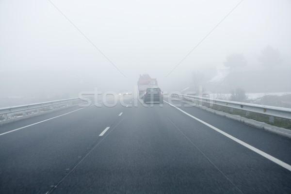 Foggy gray road, cars driving into the fog Stock photo © lunamarina