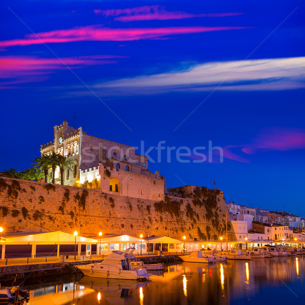 Ciutadella Menorca city town Hall and Port sunset Stock photo © lunamarina