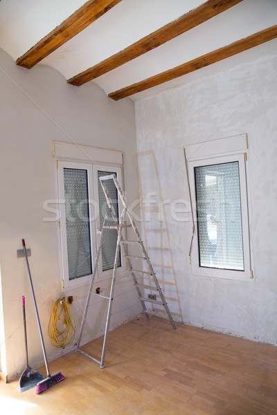 House indoor improvements plater tools and ladder Stock photo © lunamarina