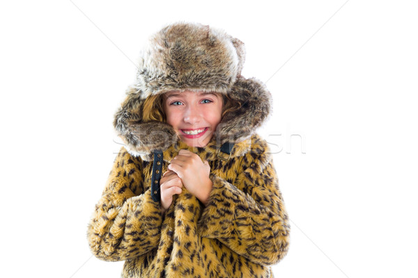 Blond winter kid girl cold freeze gesture and fur Stock photo © lunamarina