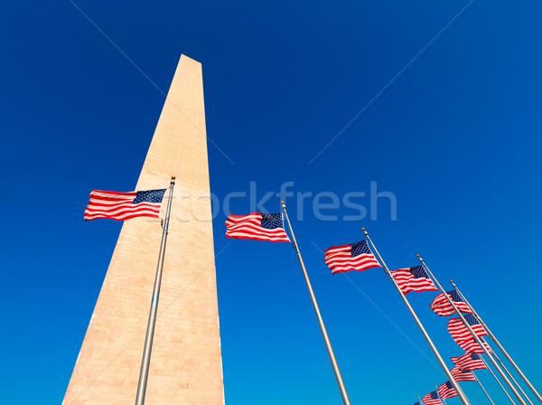 Washington Monument distrito americano banderas edificio ciudad Foto stock © lunamarina