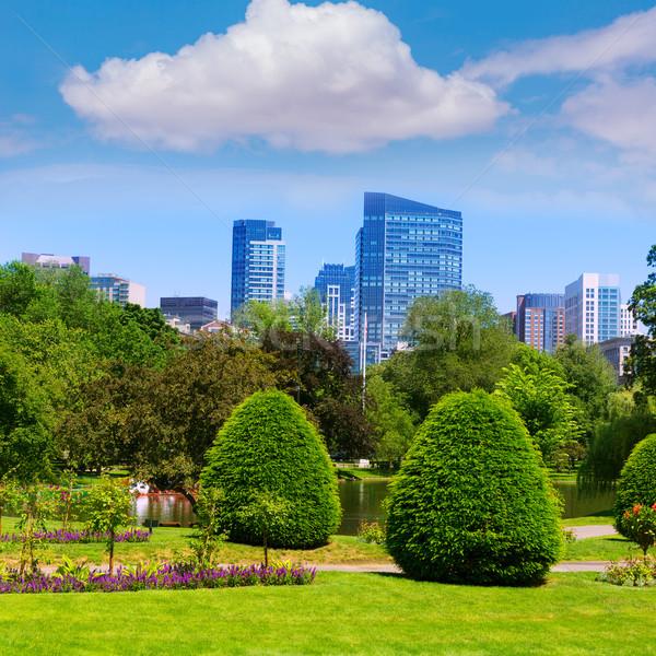 Boston Common park gardens and skyline Stock photo © lunamarina