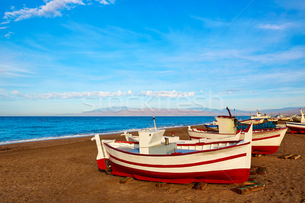 ビーチ ボート スペイン 水 海 背景 ストックフォト © lunamarina