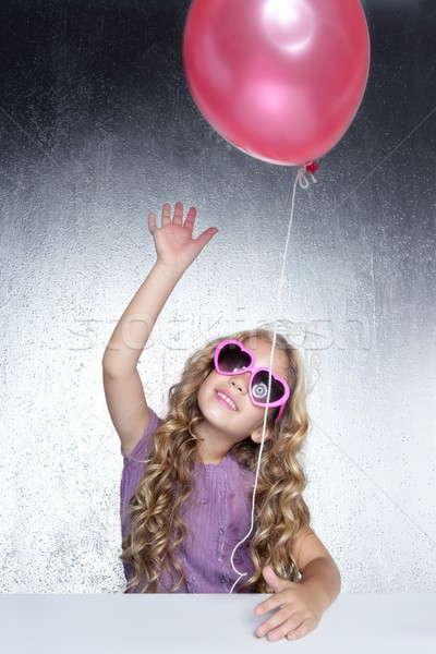 fashion little party girl red balloon heart sunglasses Stock photo © lunamarina