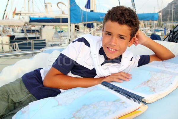 少年 代 船乗り マリーナ ボート ストックフォト © lunamarina