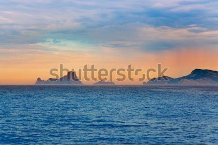 silver turquoise Illetes Formentera sea sunset Stock photo © lunamarina