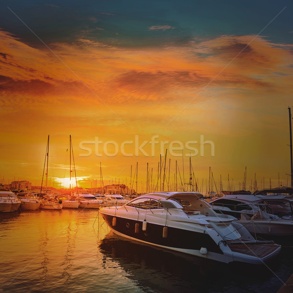 Denia sunset in Marina boats Mediterranean Spain Stock photo © lunamarina