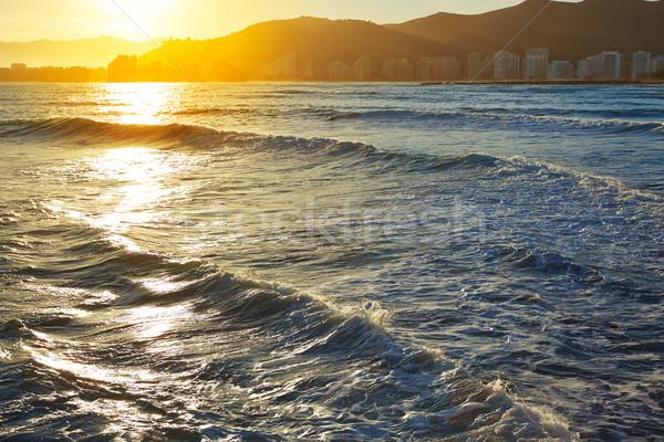 Tengerpart naplemente Valencia mediterrán Spanyolország nap Stock fotó © lunamarina